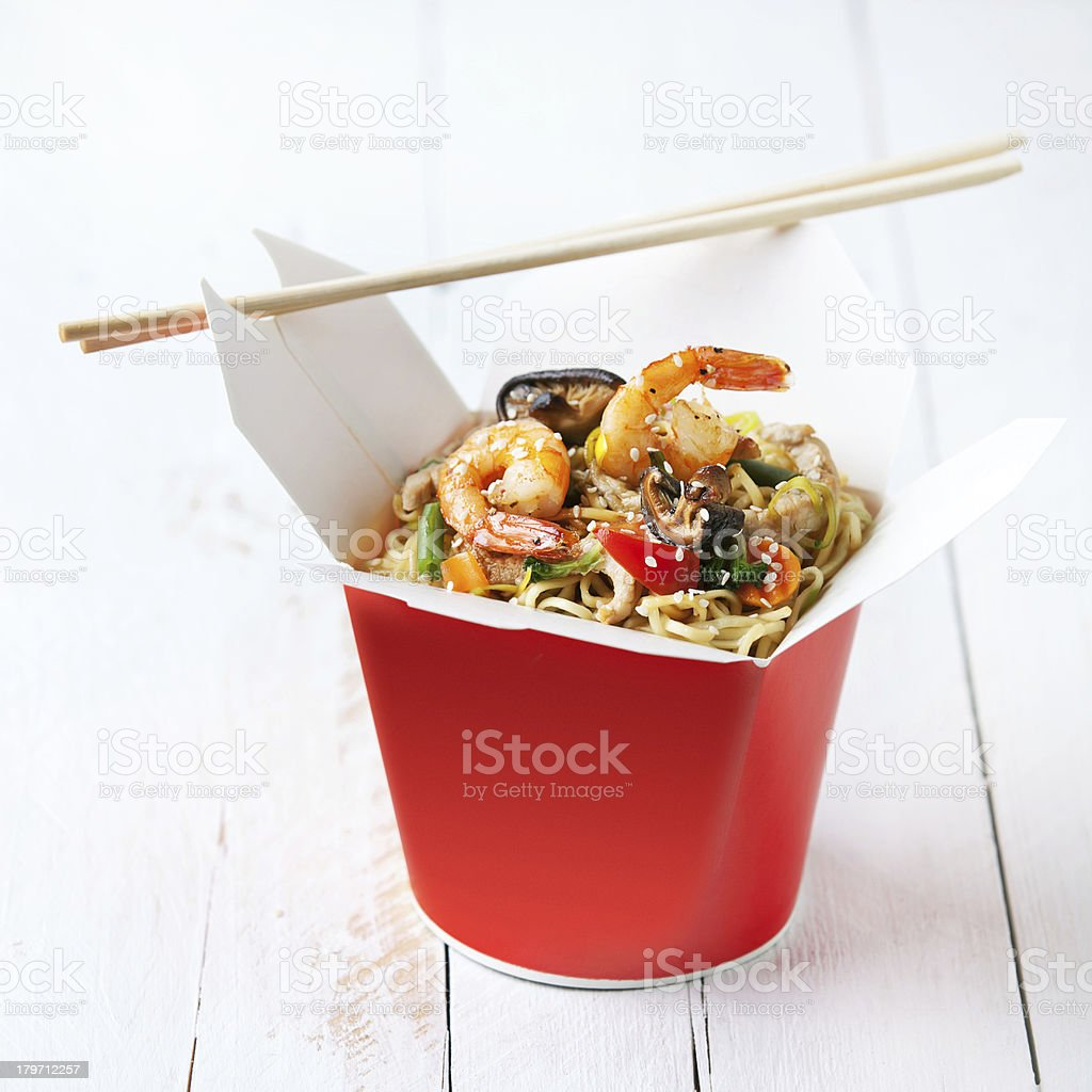 Noodles with mushrooms, shrimp and pork stock photo