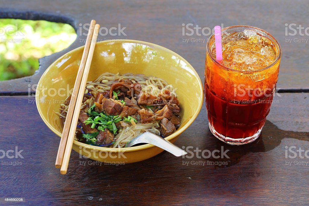Noodles with pork with soup stock photo