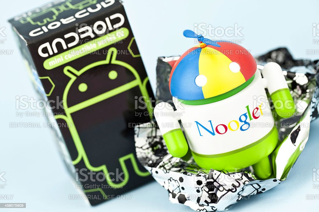 Noogler Android and Original Packaging stock photo