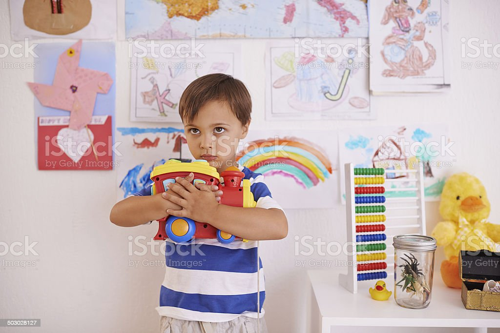 No-one is touching my toys! stock photo