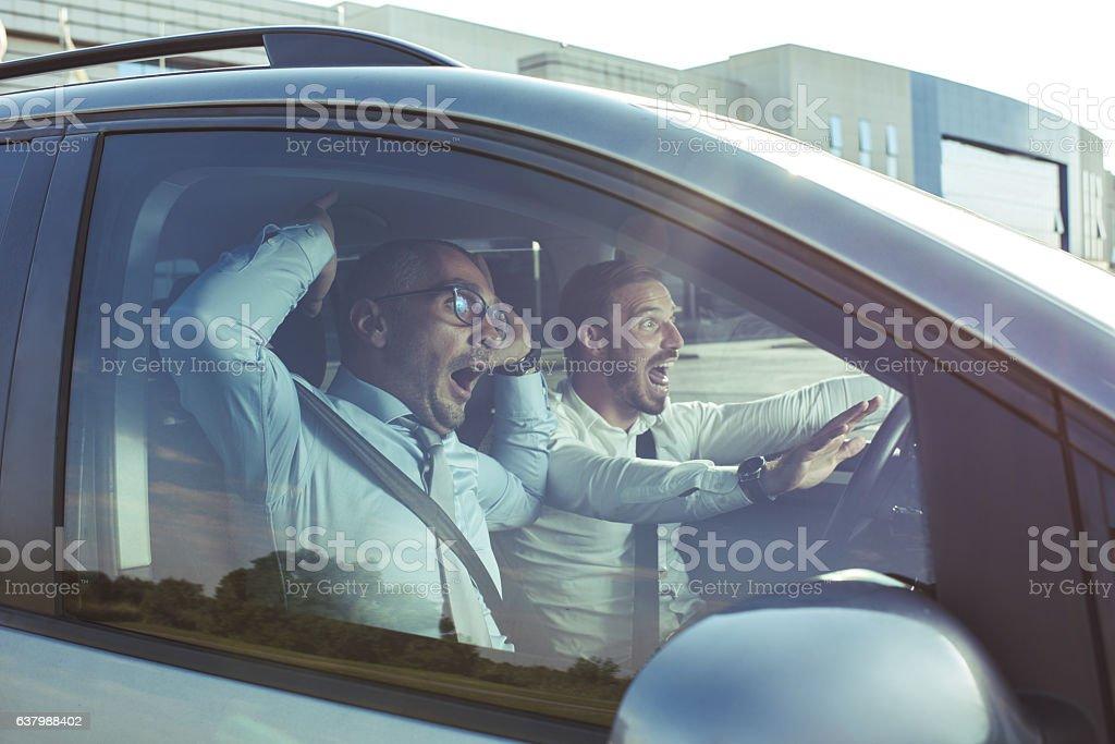 Noooo, we are going to crash! stock photo