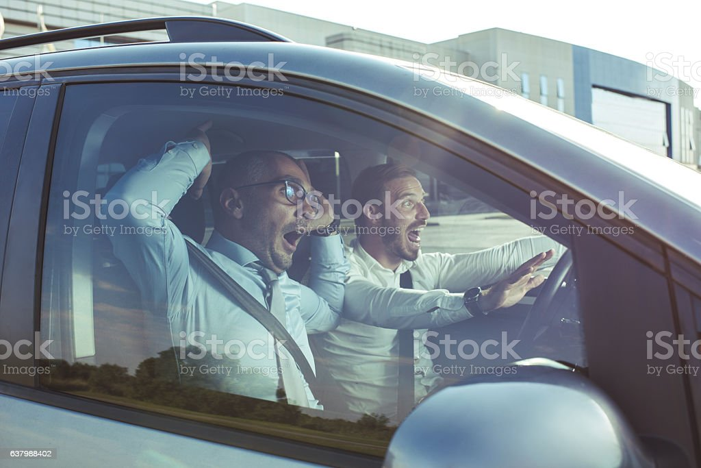 Noooo, we are going to crash! stock photo