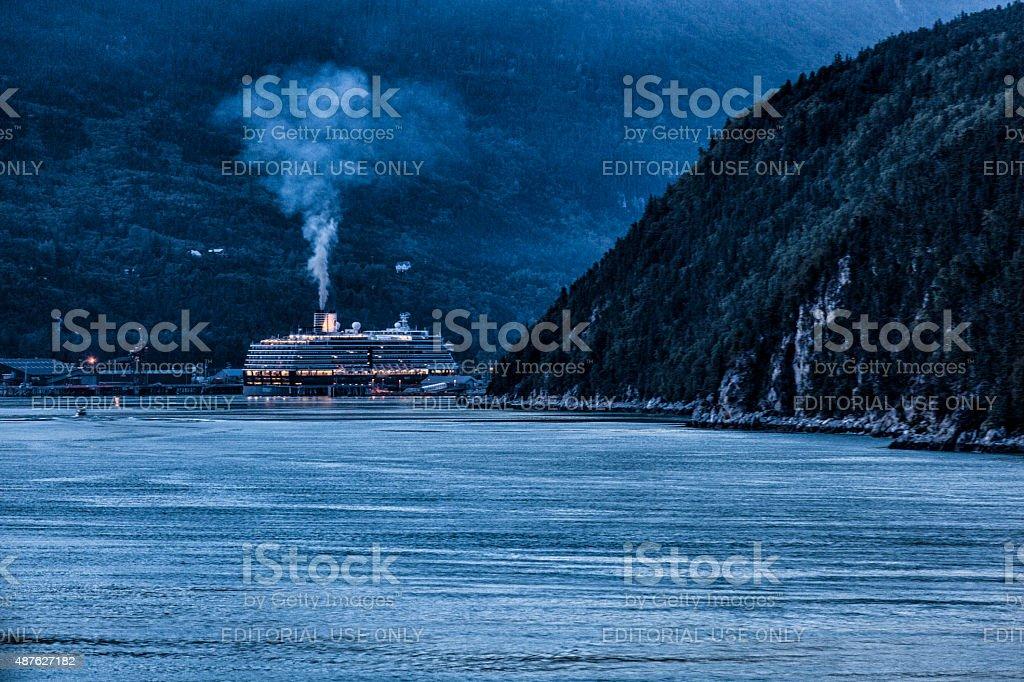 MS Noordam Departing Skagway, Alaska stock photo