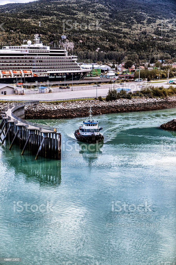 MS Noordam Docked in Skagway, Alaska stock photo