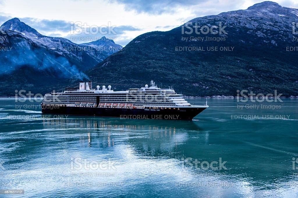 MS Noordam Sailing into Skagway, Alaska stock photo