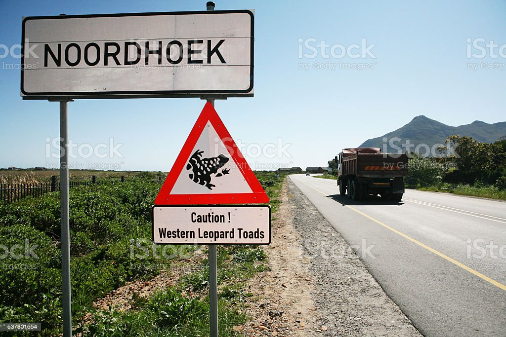 Noordhoek sign, warning, Cape Town, Leopard Toad endangered stock photo