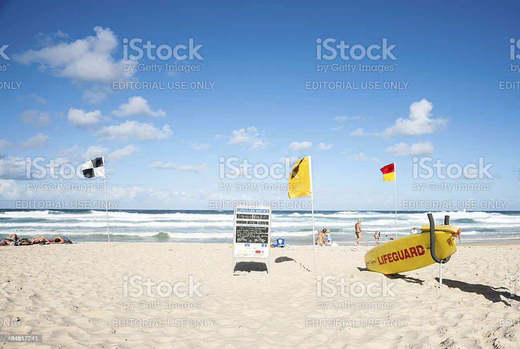 Noosa Beach, lifeguard station. stock photo