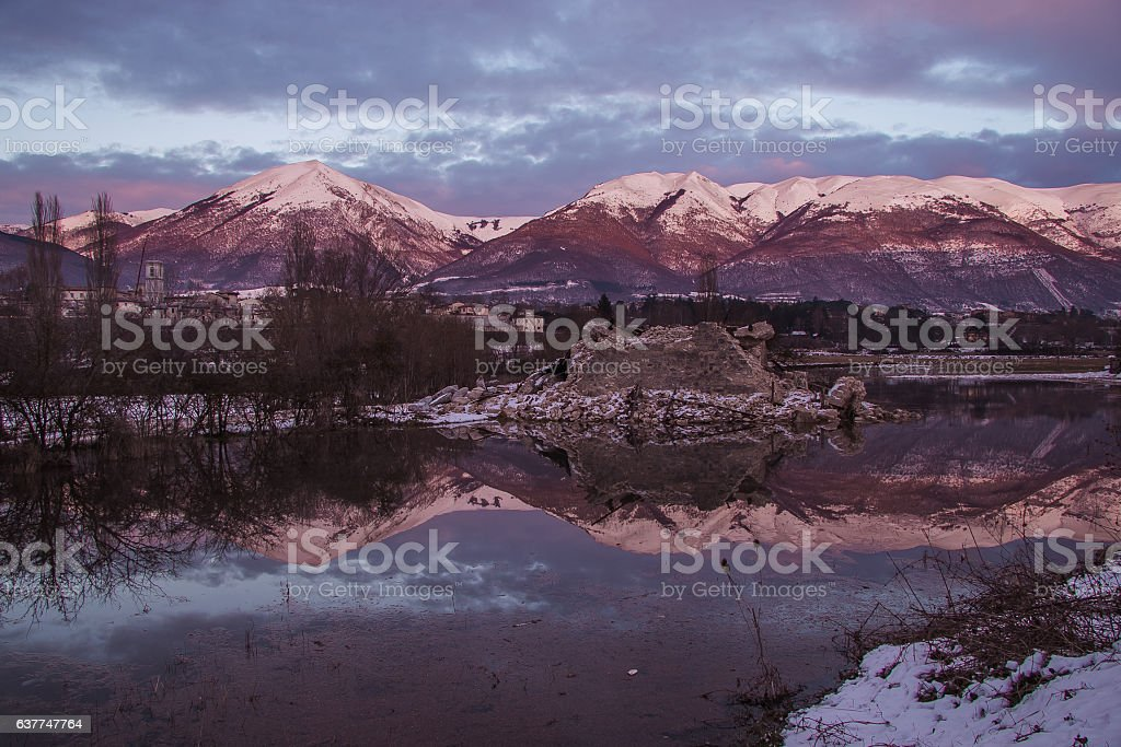 Norcia at winter sunset stock photo