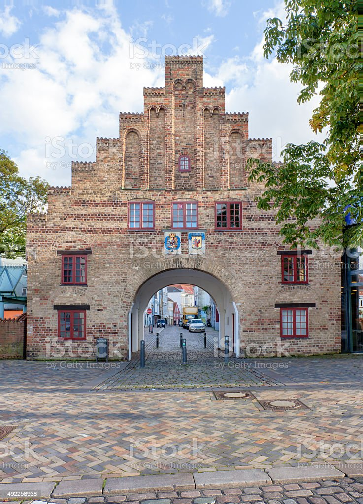 Nordertor gate at Flensburg stock photo