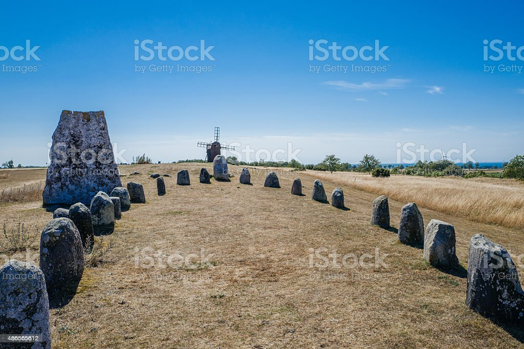 Nordic bronze age grave field in Sweden stock photo