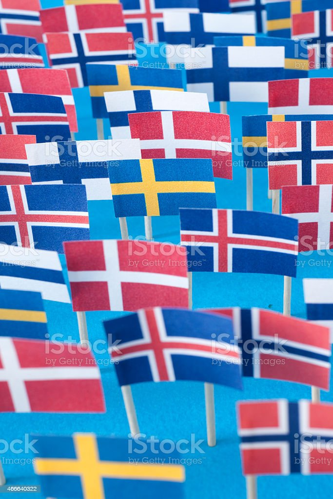 Nordic countries flags stock photo