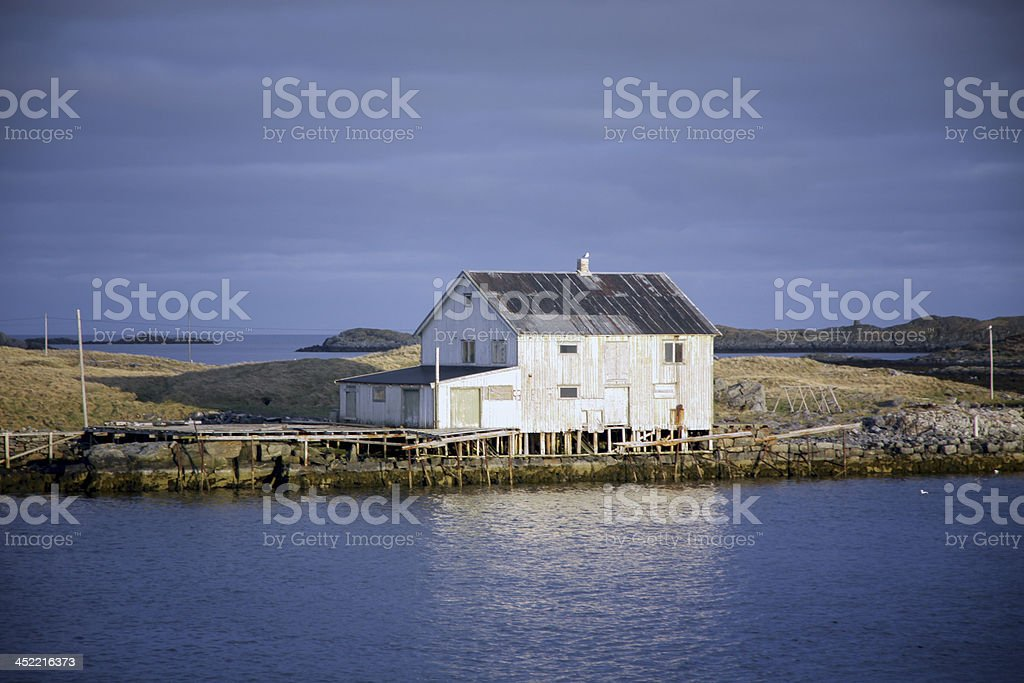 Nordic Fishing Hous by the Sea stock photo