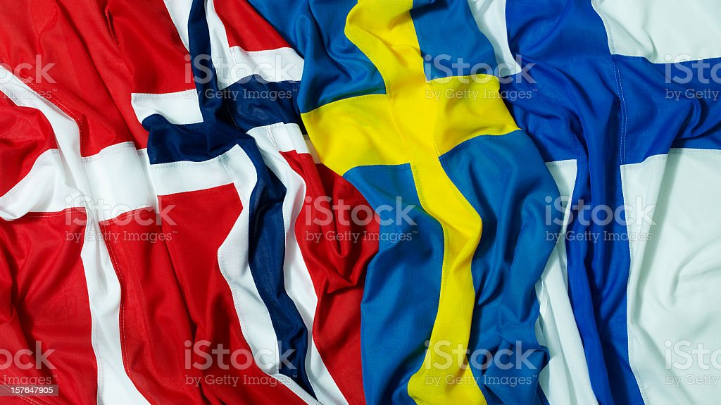 Nordic flags stock photo