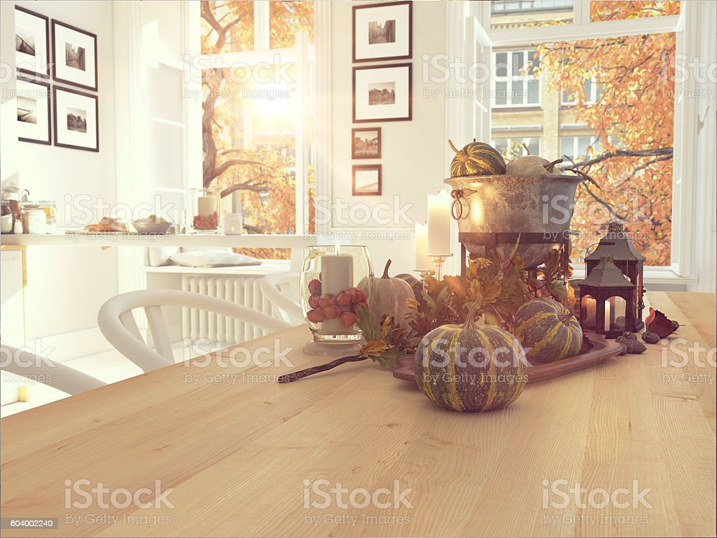 nordic kitchen in an apartment. 3D rendering. thanksgiving concept. stock photo