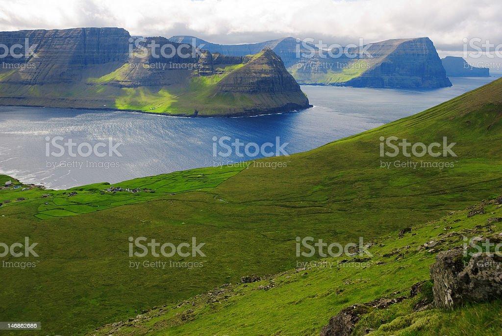 Nordic landscape on Faeroe Islands stock photo