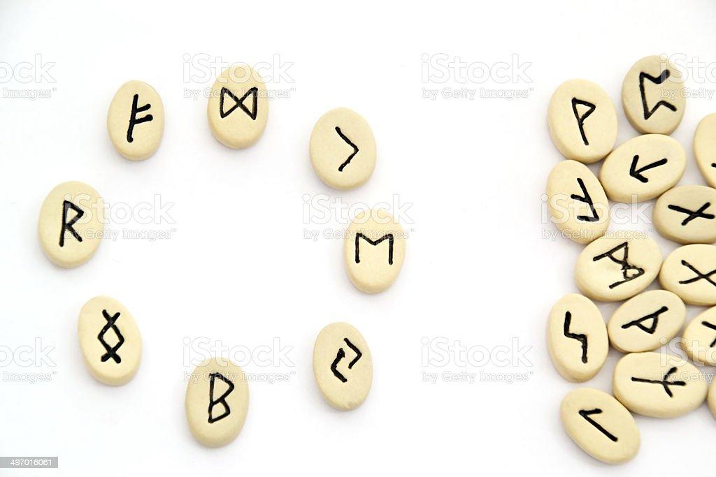 nordic runes - circle shape stock photo