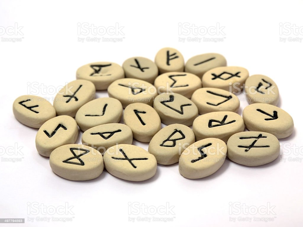Nordic runes on white background stock photo