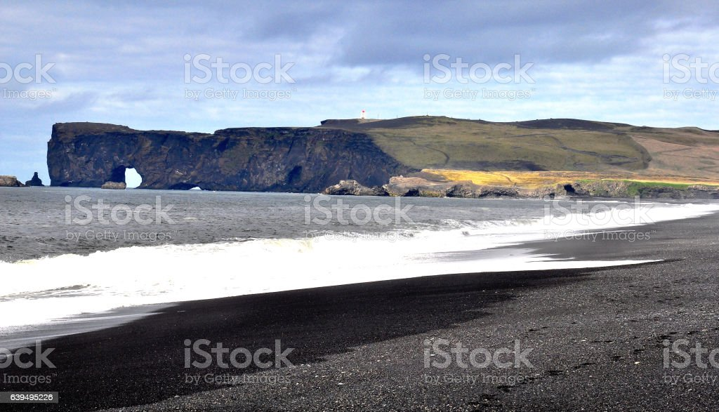 Nordic seascape at Dyrholaey point stock photo