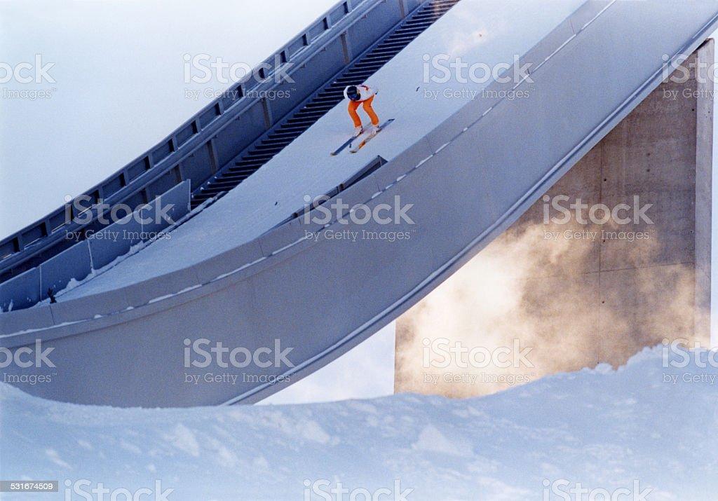 Nordic Ski Jumper stock photo