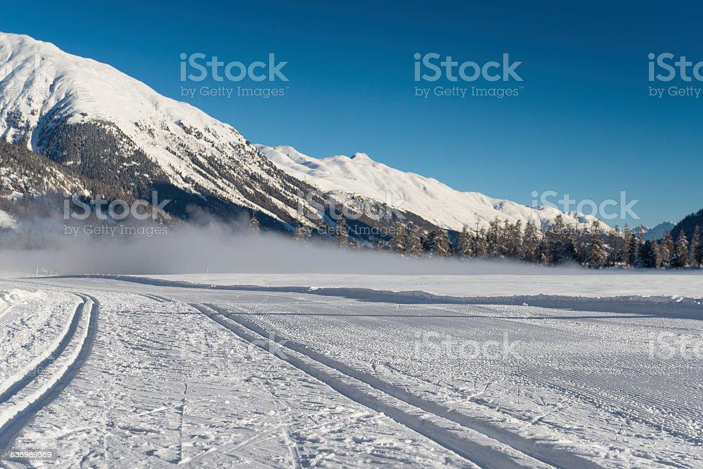Nordic ski track stock photo