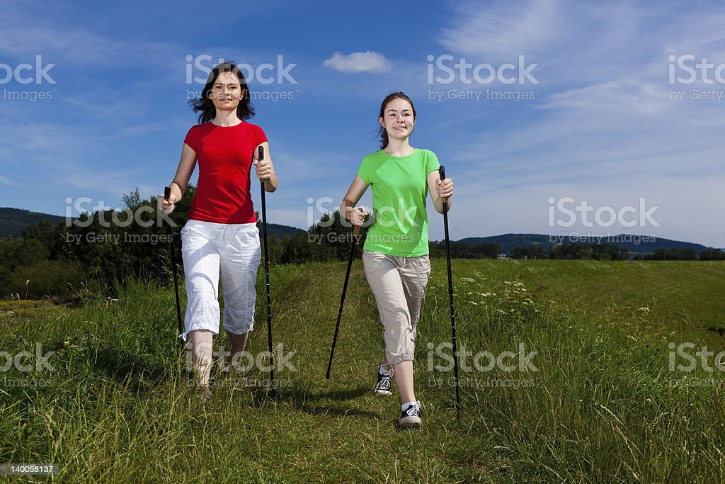 Nordic walkers royalty-free stock photo