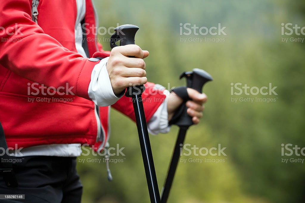Nordic Walking and hiking woman stock photo