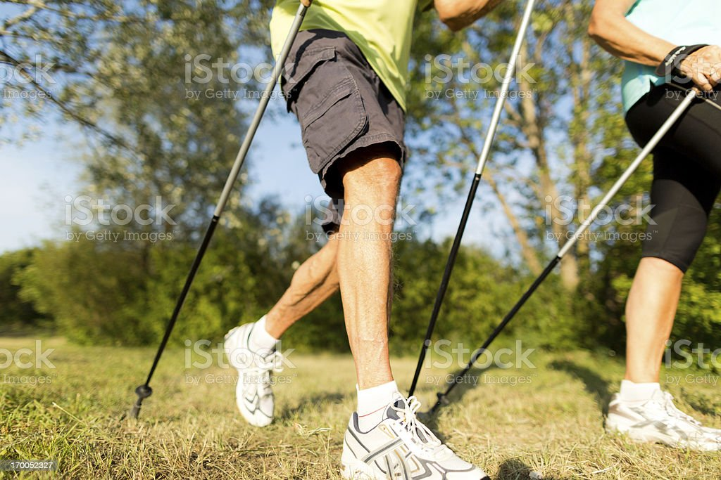 nordic walking detail stock photo