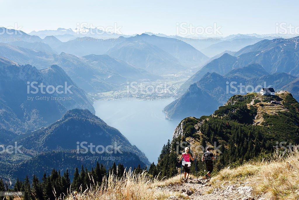 Nordic walking in mountains royalty-free stock photo
