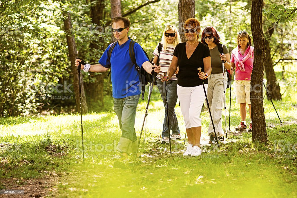 Nordic Walking in Nature stock photo