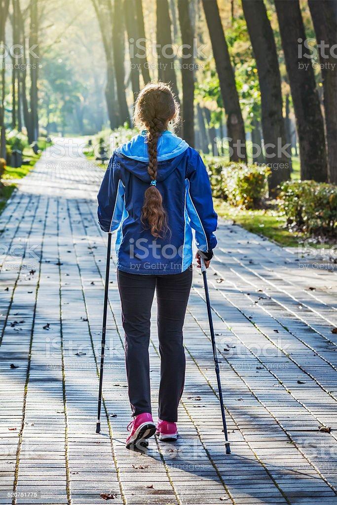 Nordic walking stock photo