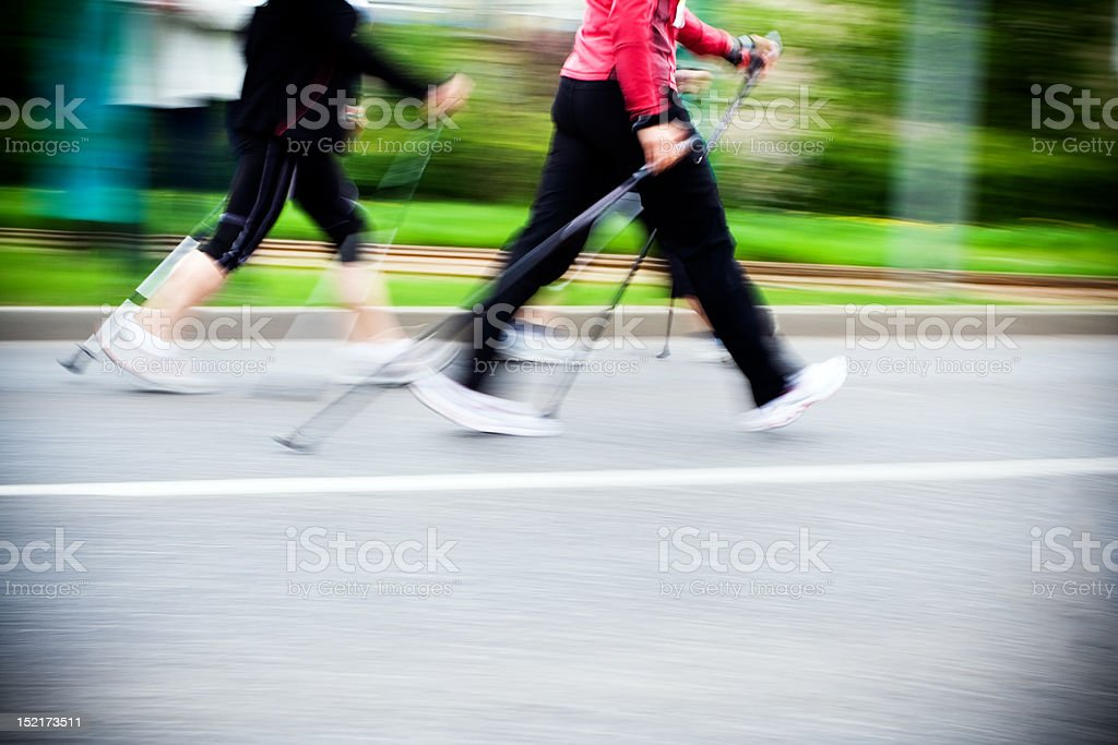 Nordic walking race, motion blur stock photo