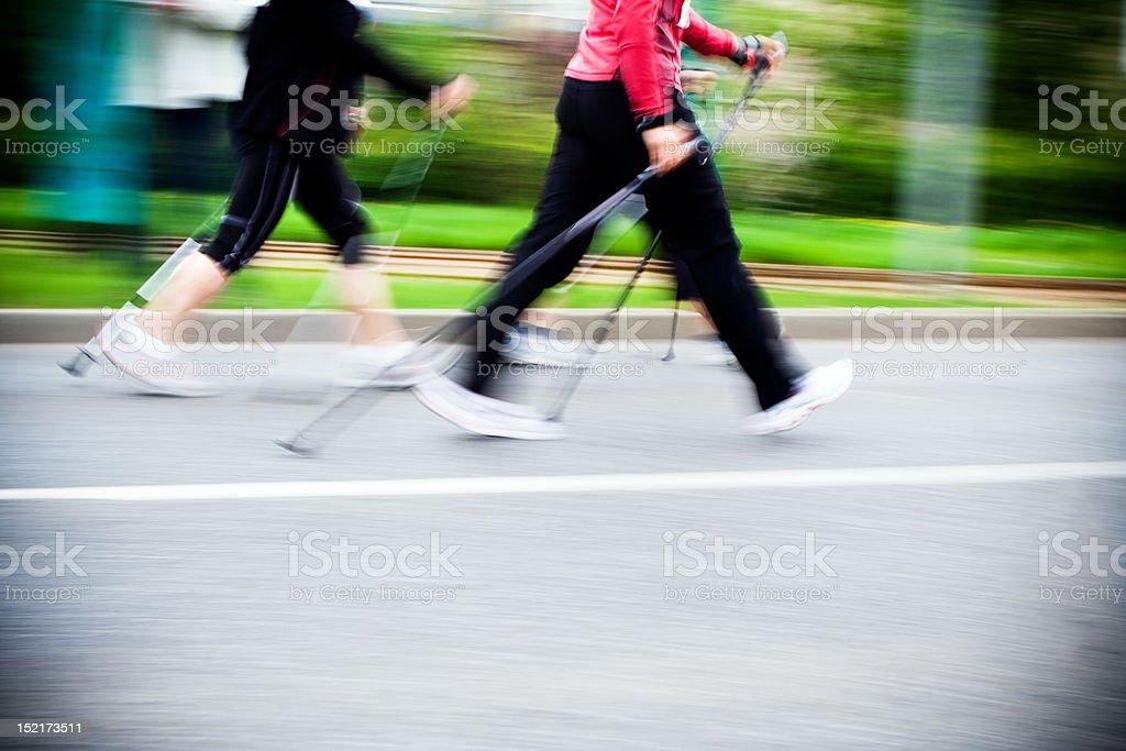 Nordic walking race, motion blur stock photo