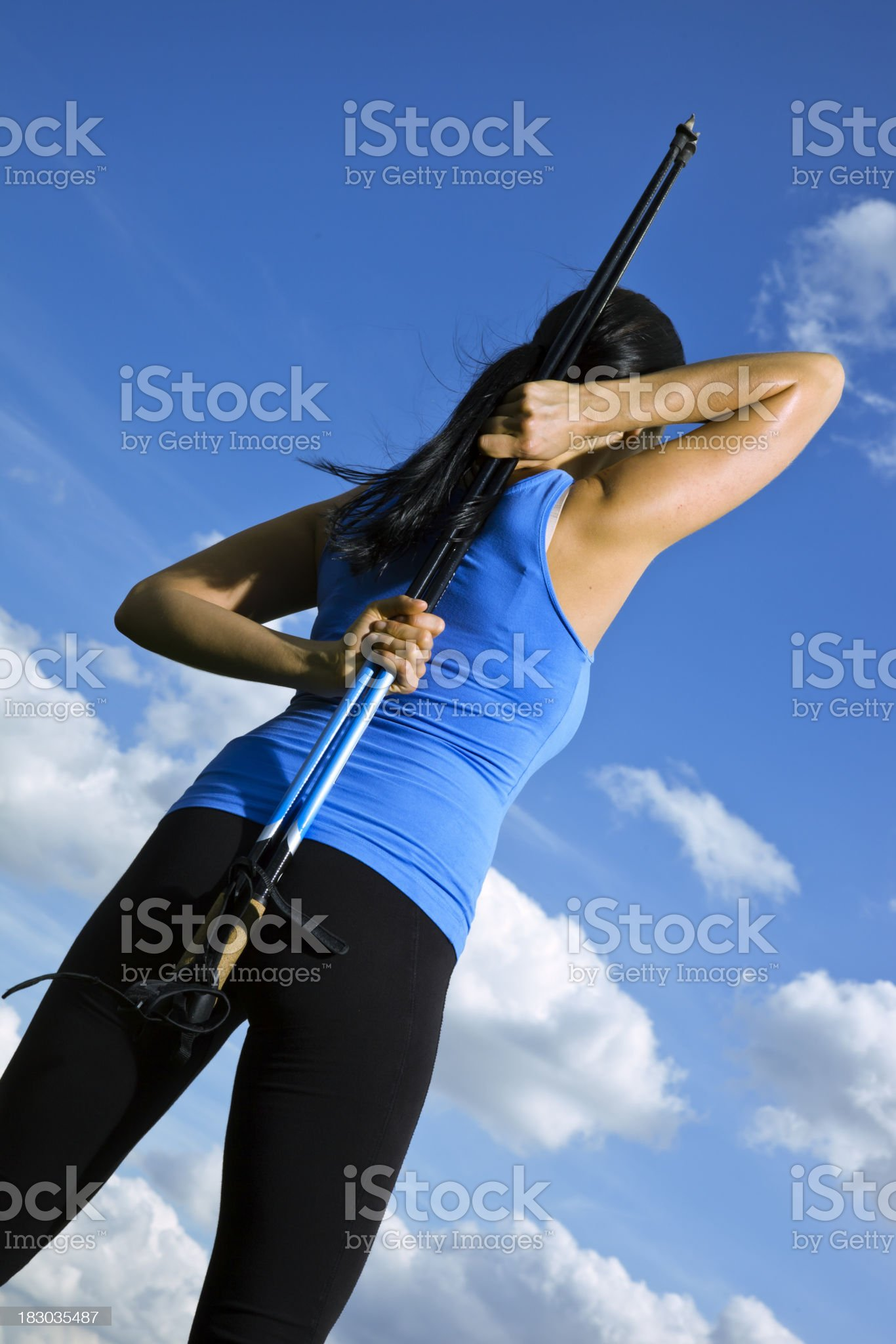 Nordic Walking Stretches royalty-free stock photo