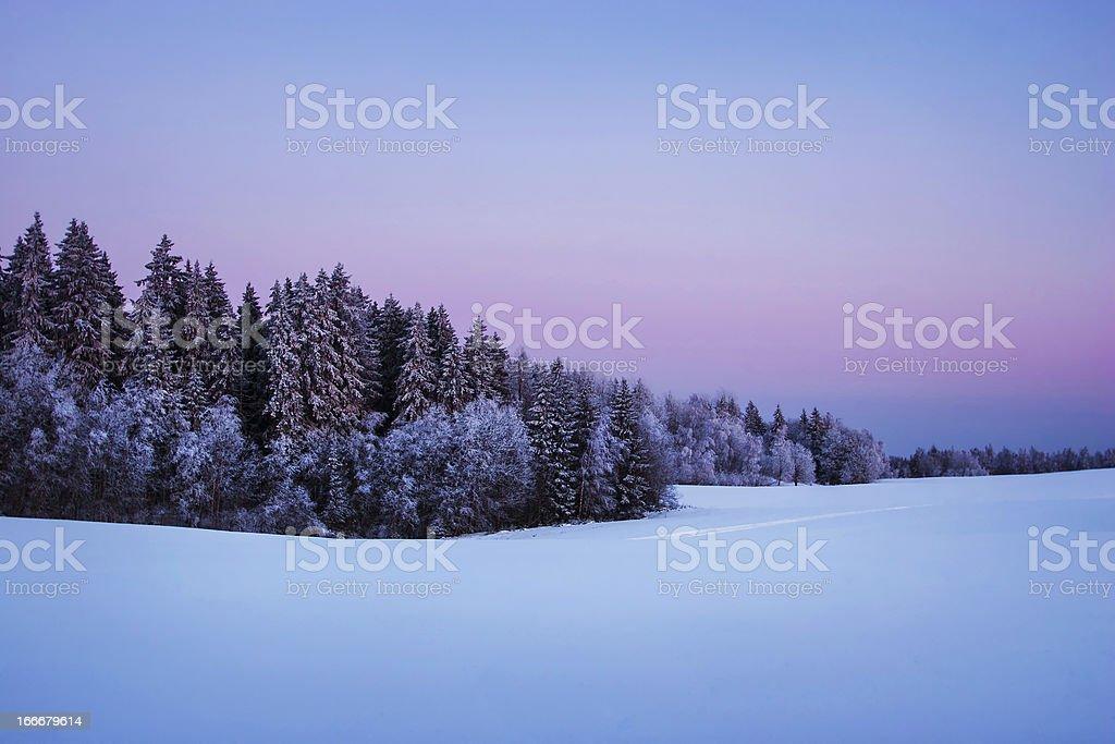 Nordic winter twilight stock photo