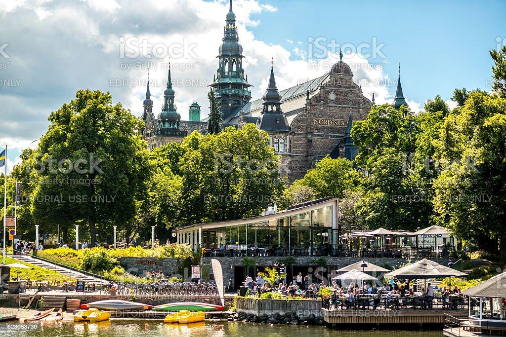 Nordiska Museum and people enjoying summer, Stockholm, Sweden stock photo