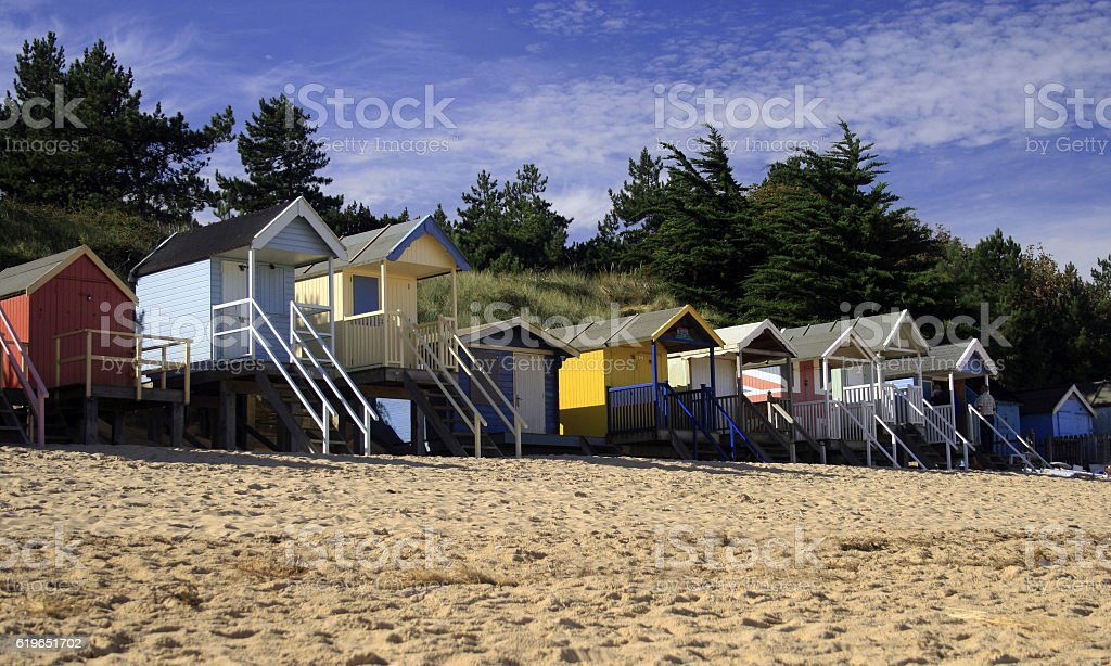 Norfolk Beach Huts stock photo