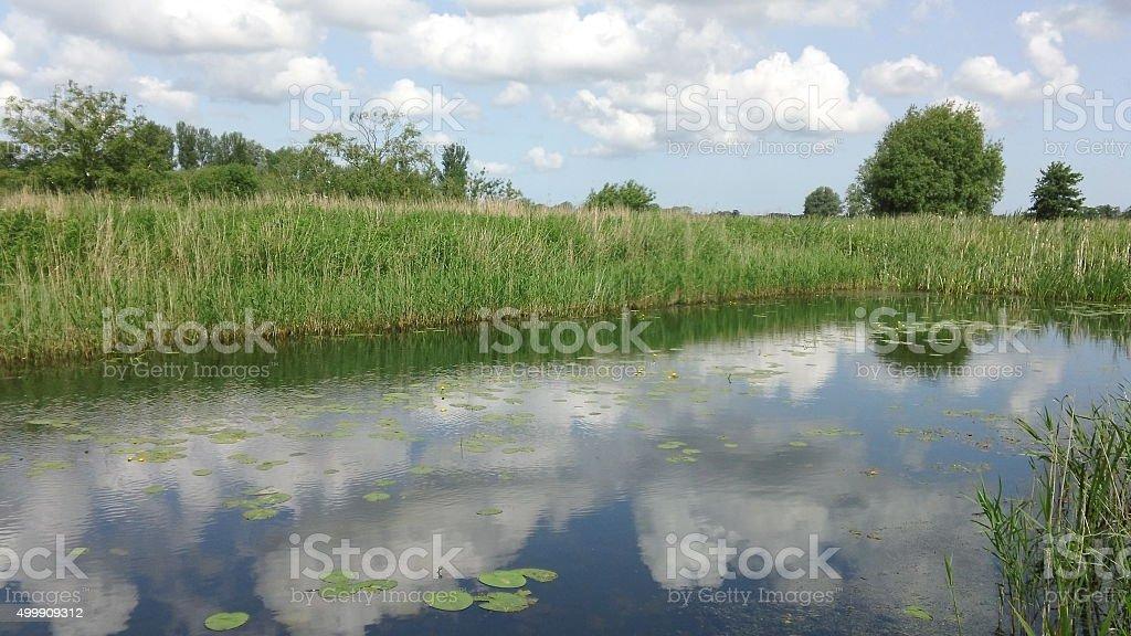 Norfolk Broads - Sky Reflections stock photo