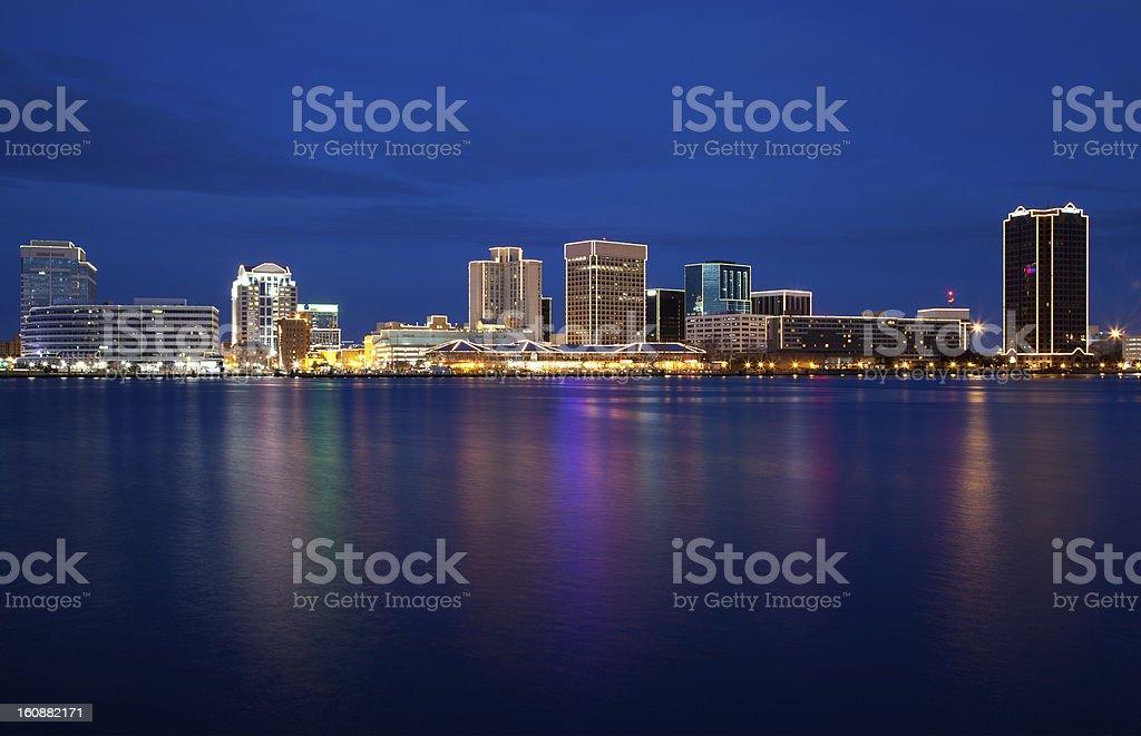 Norfolk city skyline illuminated at night stock photo