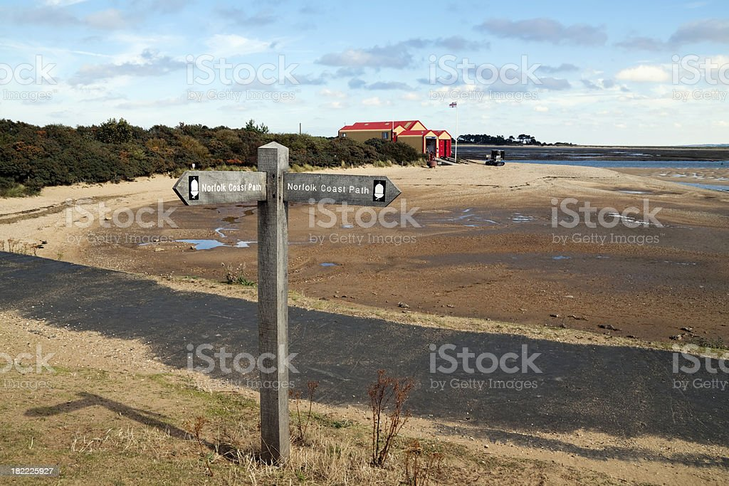 Norfolk Coast Path sign and Wells lifeboat house stock photo