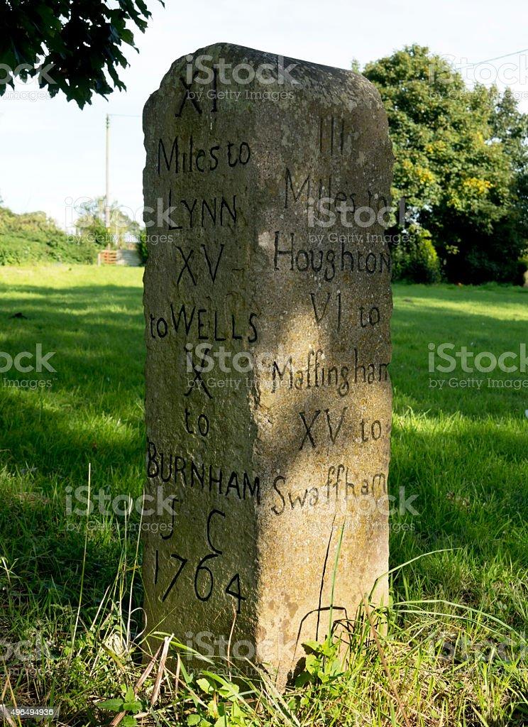 Norfolk mile stone stock photo
