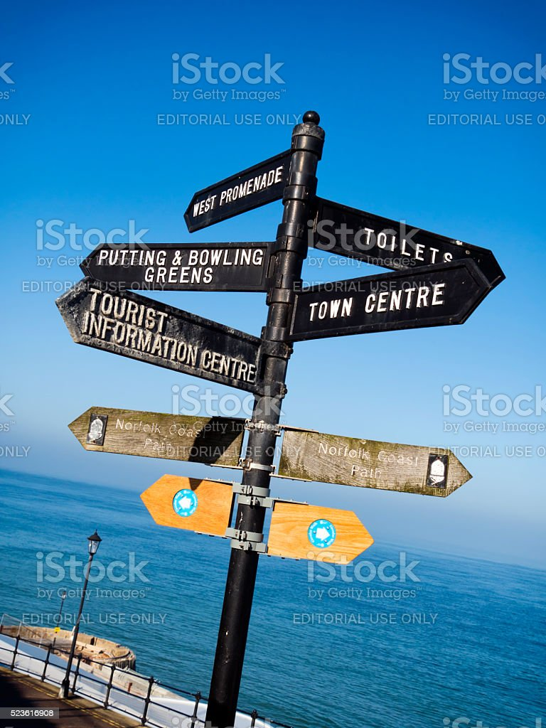 Norfolk seaside signs stock photo
