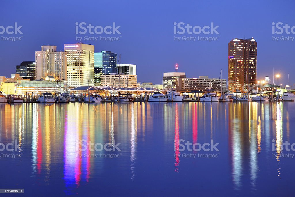 Norfolk skyline along the banks of Chesapeake Bay stock photo