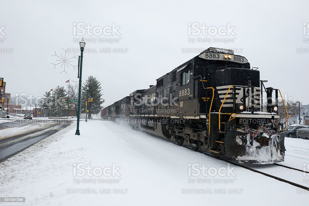 Norfolk Southern train in  Johnson City, Tennessee stock photo