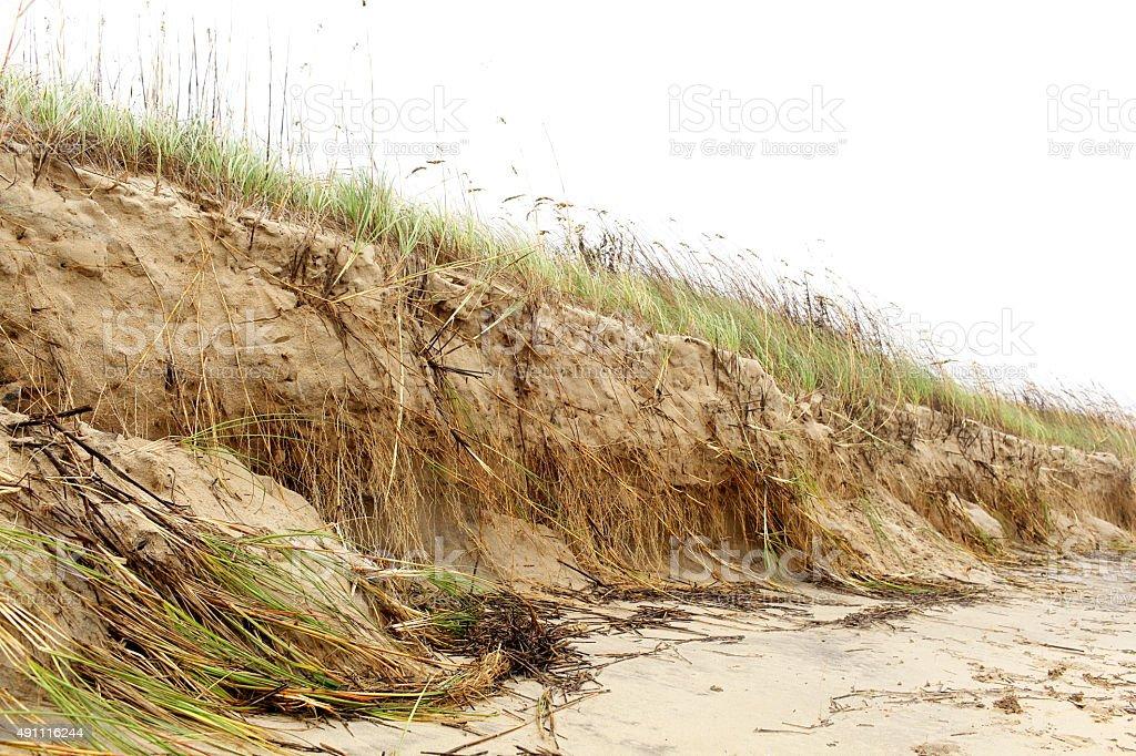 Norfolk, Va. beach erosion stock photo