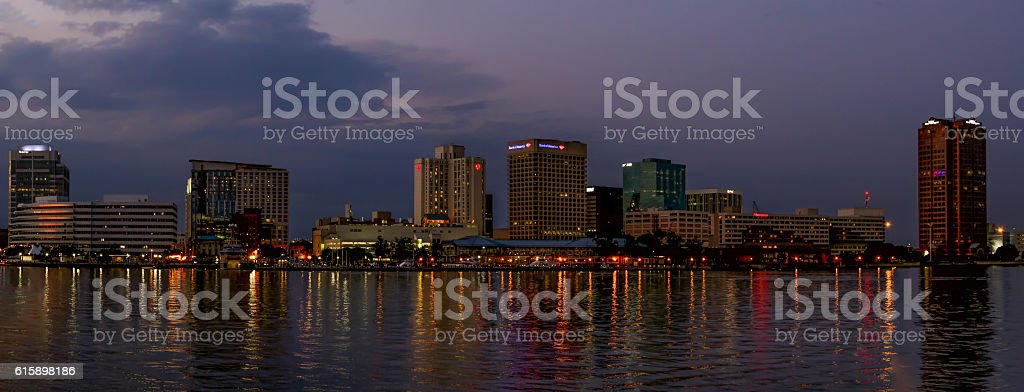 Norfolk, VA Skyline Pano stock photo