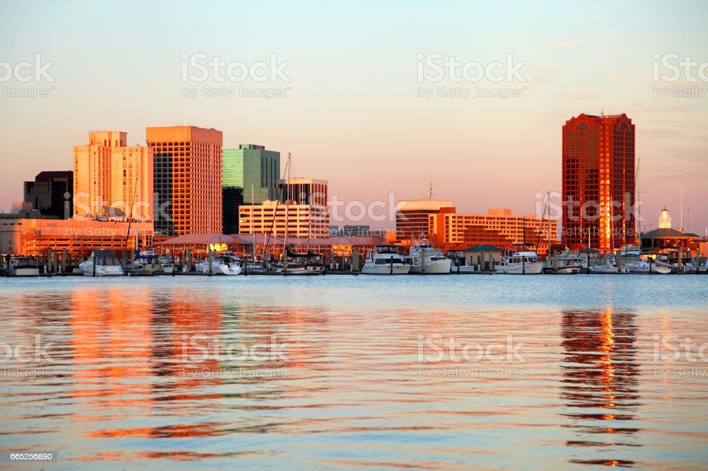 Norfolk Virginia Downtown Skyline stock photo