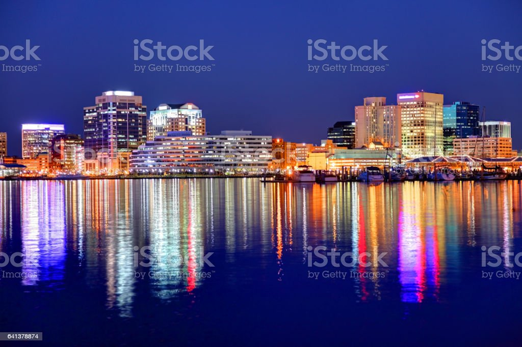 Norfolk Virginia skyline along the banks of Chesapeake Bay stock photo