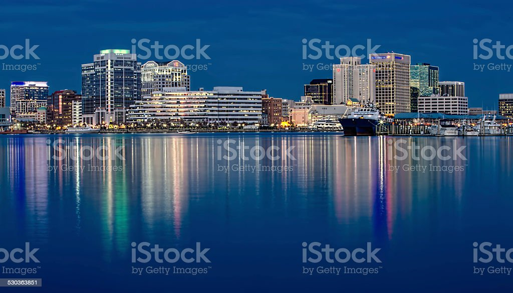 Norfolk Virginia skyline & reflection at twlight during Christmas stock photo