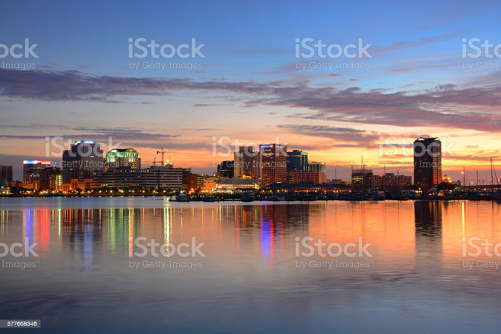 Norfolk, Virginia Skyline with River at Dawn stock photo