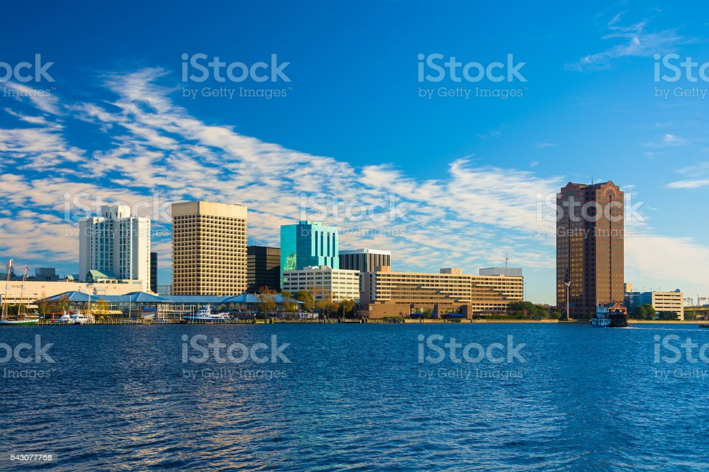 Norfolk, Virginia Skyline with River stock photo